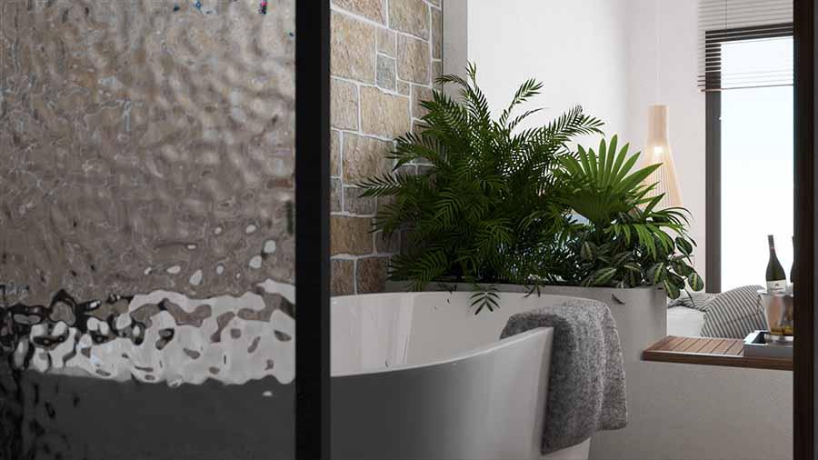 Sử dụng bồn tắm tròn và có kích thước vừa phải để tối ưu không gian, tạo sự thoải mái.