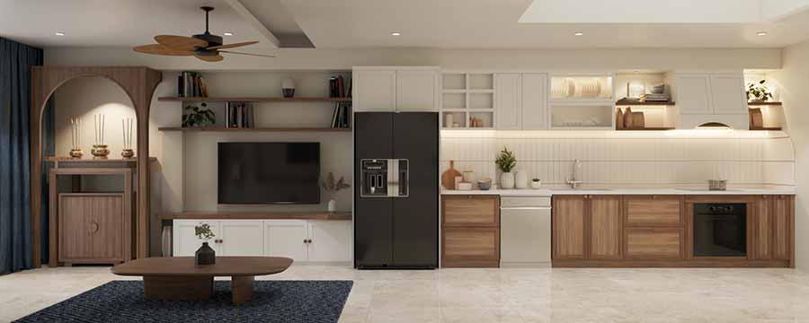 Bếp thông với phòng khách để tận dụng ánh sáng tự nhiên từ cửa sổ lớn.