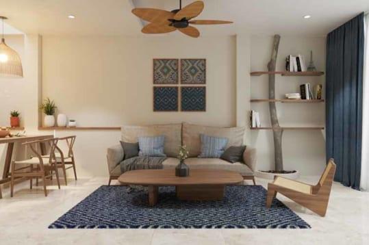 Thiết kế phòng khách nhà phố phong cách Địa Trung Hải