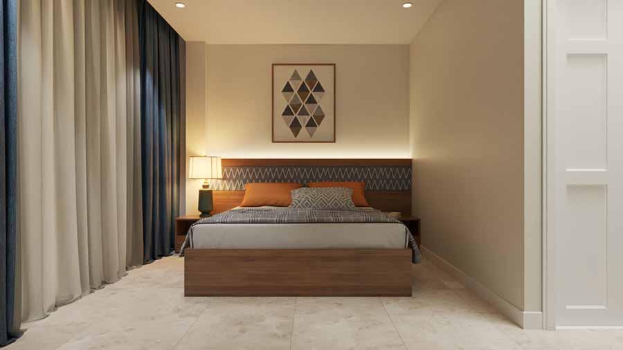 Tối giản mọi chi tiết với rèm vải mềm mại, tạo sự quyến rũ, ấm cúng cho phòng ngủ.