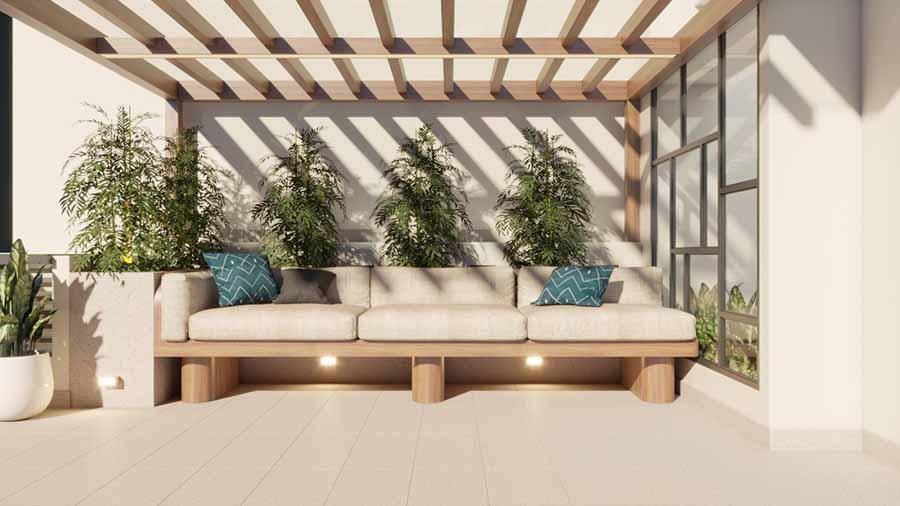 Cây xanh và mái lưới đan xen từ gỗ, không gian mở hoàn toàn để gia chủ có thể tìm về với thiên nhiên một cách dễ dàng nhất.