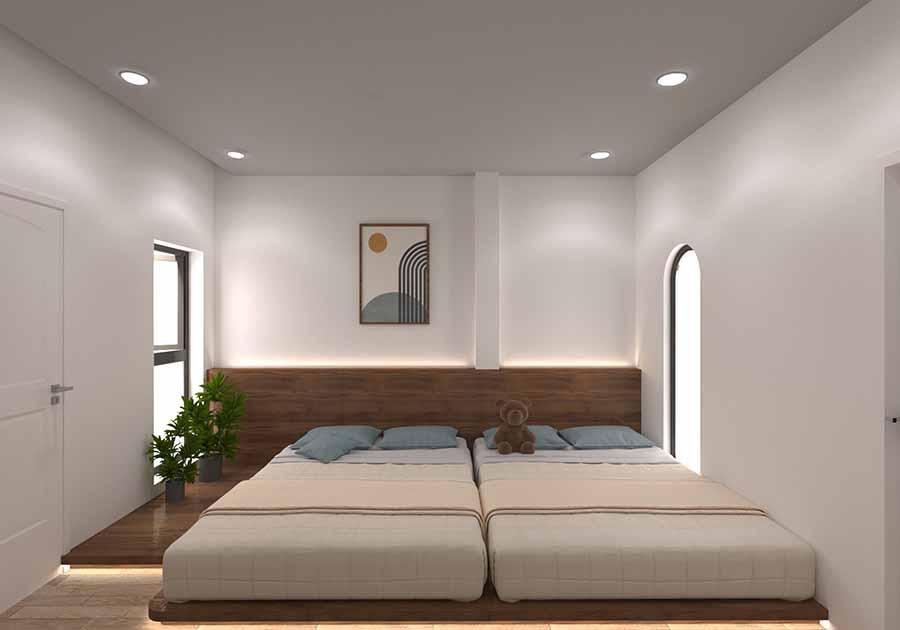 Phòng đôi sử dụng gam màu trắng sáng tạo cảm giác dễ chịu và không gian mở rộng hơn.