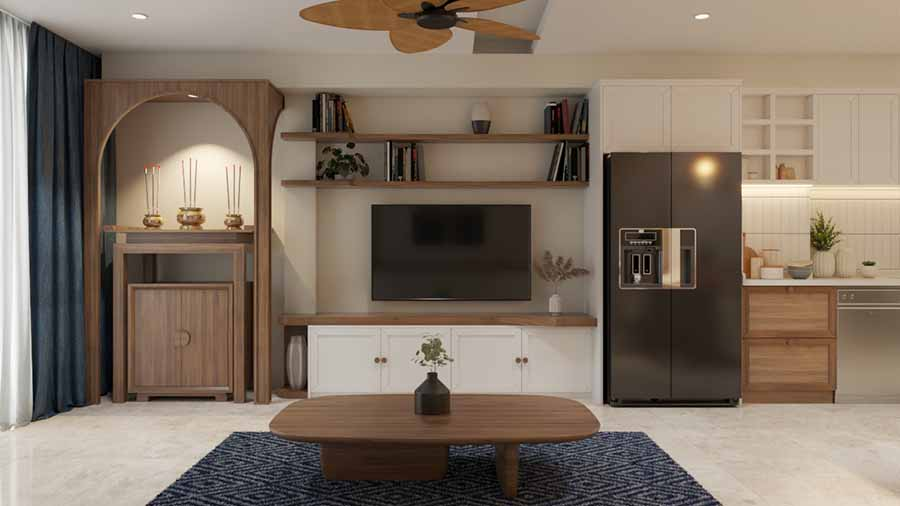 Nội thất gỗ chủ yếu với kiểu dáng hiện đại, tối giản, tạo cảm giác thông thoáng cho phòng khách.