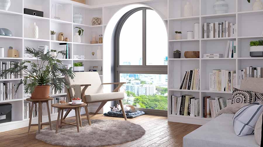 Thiết kế không gian thư giãn tiện lợi tại phòng làm việc với những nội thất thoải mái như ghế bành, sofa giường, ...