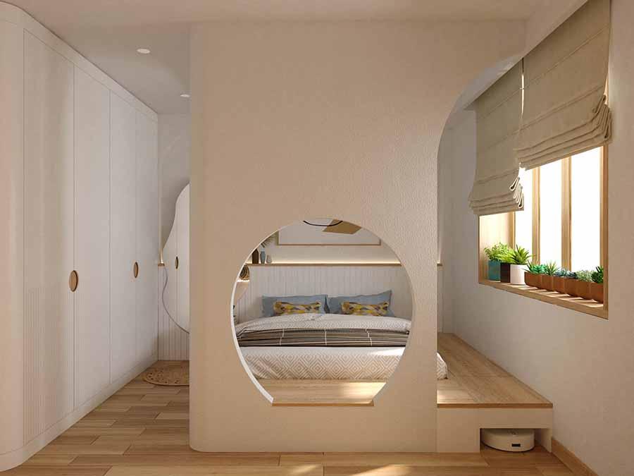 Tận dụng ánh sáng tự nhiên từ cửa sổ lớn và rèm vải nỉ đậm chất Địa Trung Hải.