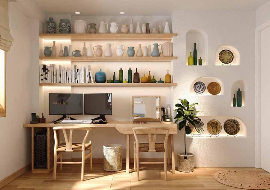 Bàn làm việc và ghế làm việc hoàn toàn từ gỗ với kiểu dáng đơn giản, thoải mái.
