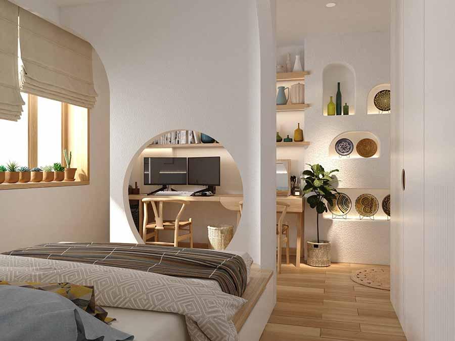 Ngăn cách khu vực làm việc và phòng ngủ nhưng vẫn đảm bảo ánh sáng tự nhiên.