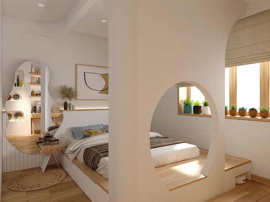Sử dụng nội thất kiểu dáng độc đáo, mộc mạc làm điểm nhấn.