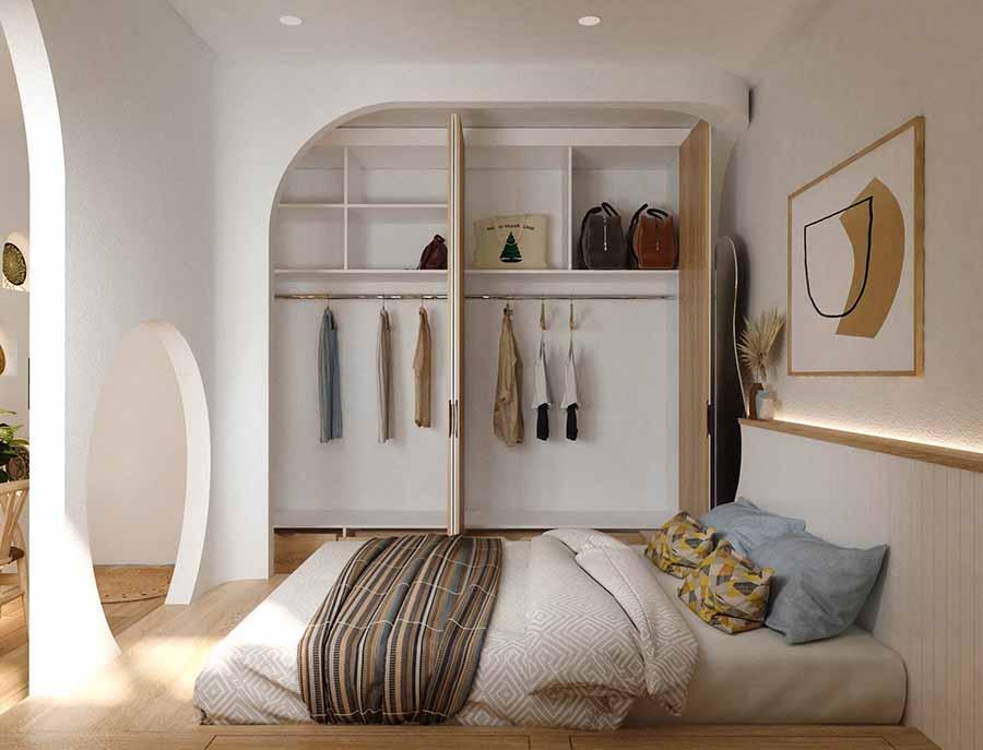 Sử dụng giường ngủ và tủ quần áo thông minh, tiết kiệm diện tích, tối ưu công năng.